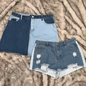 Misguided split tone shorts and skirt